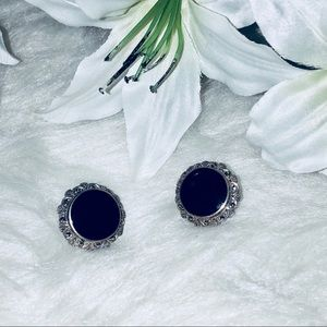 Jewelry - Gorgeous Onyx and Marcasite Earrings